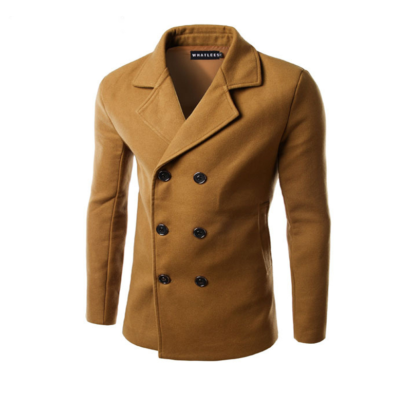 Men Woolen Coats Camel Jackets Double Breasted Male Manteau Homme Overcoat Fashion Brand Warm Long Sleeve Pea Coat Stand Collar
