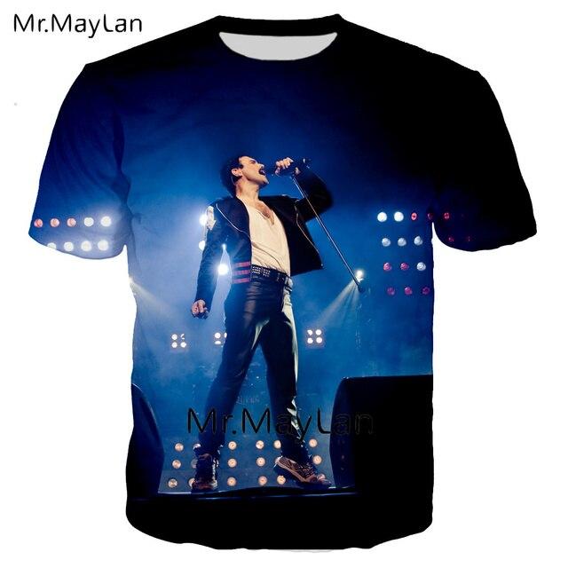 T-shirt 3D impression Rock Queen bande Freddie Mercury hommes/femmes Hip Hop Streetwear t-shirt Modis vêtements surdimensionnés poleras hombre