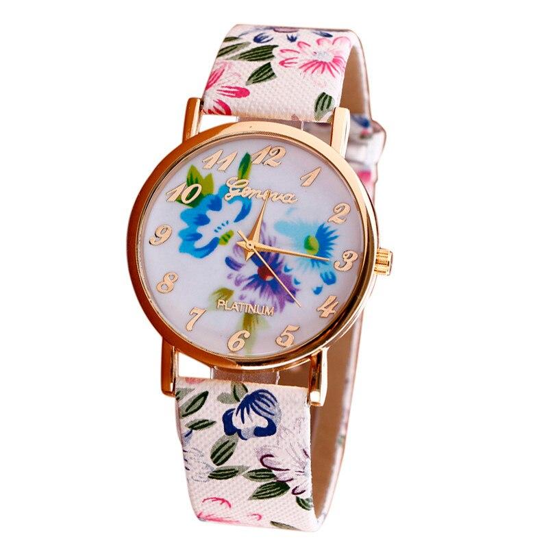 2016 luxury brand кварцевые часы Повседневная Мода Цветочные Узоры Кожаный Ремешок reloj masculino Аналоговый Vogue Наручные Часы горячая