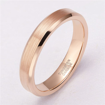 цена TIGRADE 4mm Rose Gold Color Tungsten Carbide Ring Brushed Wedding Band Women Engagement Rings For Male Female Quality Jewelry онлайн в 2017 году