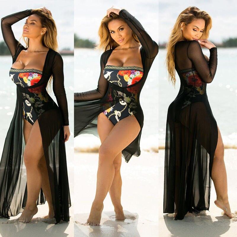Women Beachwear Bikini Beach Wear Cover Up Long Blouse Shirt Maxi Dress Bandage See-through Cardigan Women Summer Clothing Blouses & Shirts