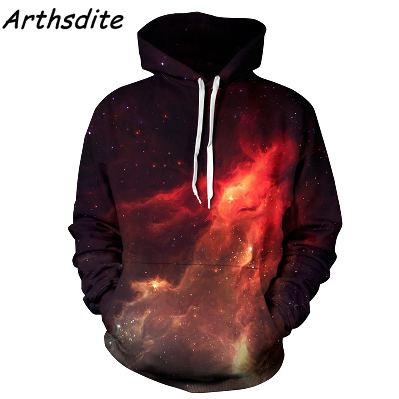 Arthsdite Couples Clothing Men/Women 3d Hoodies Space Galaxy Hooded Sweatshirt With Cap Print Fire Oversized Hoodies Pullover
