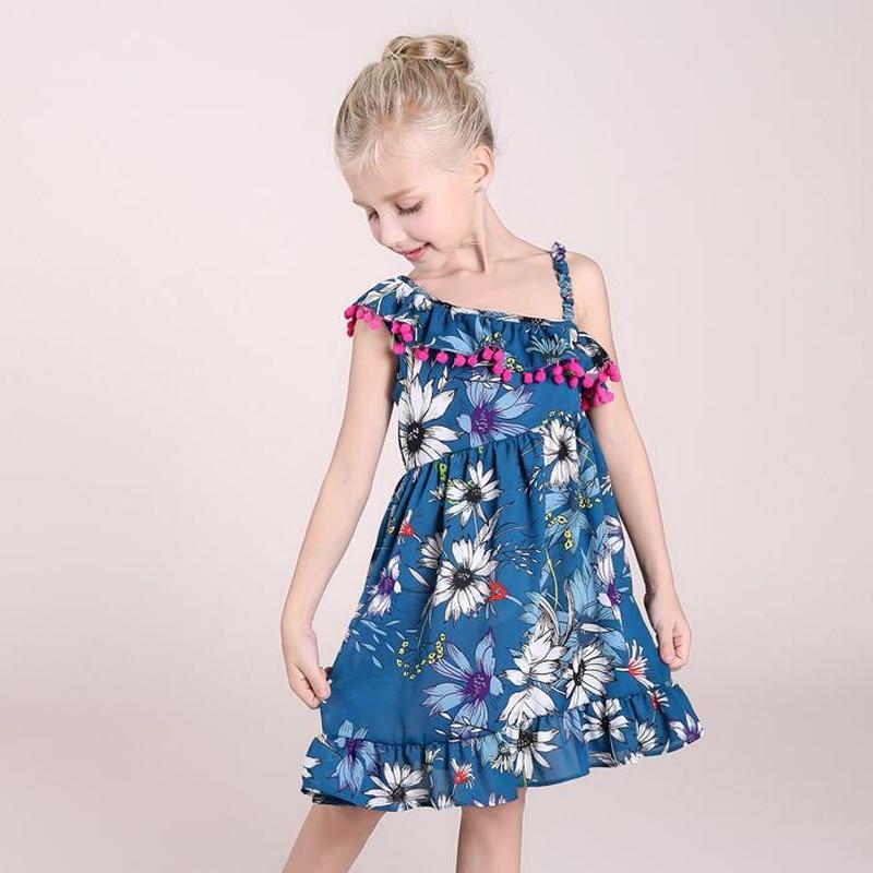 Baby Girl One Shoulder Dress for Girls Floral Print Pom Pom Dress Girl Kids Single Ruffle Shoulder Summer Dresses for Children