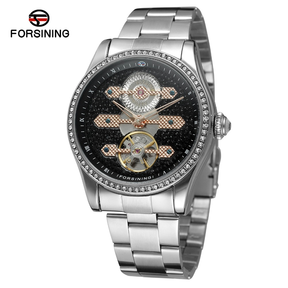 FORSINING Men's Automatic Self-winding Luxury Brand Stainless Steel Bracelet Analog Mail Outdoor Mechanical Watch FSG9419M4 ik 98111 stainless steel mechanical self winding analog wrist watch for men black silver