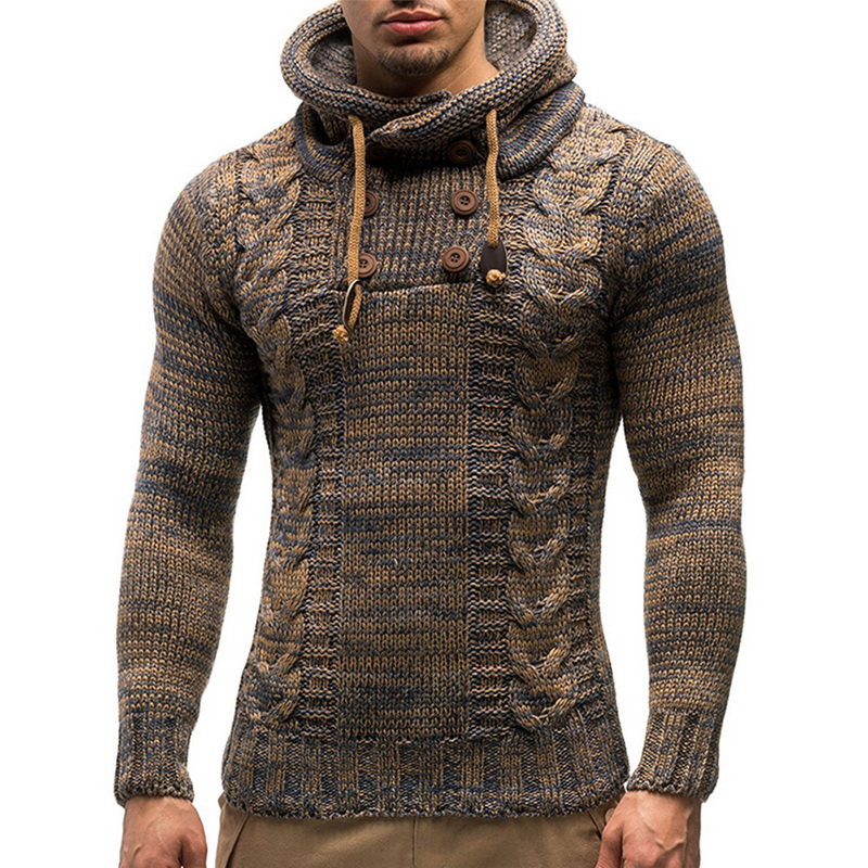 Oeak Men's Fashion Solid Color Knit Hooded Sweaters 2019 New O-Neck Long Sleeve Slim Fit Pullover Tops Autumn Winter