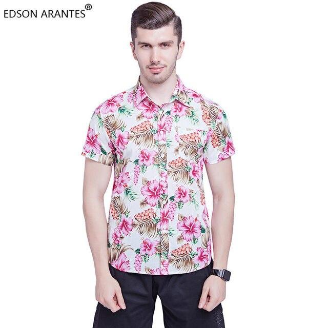 d2d47821e242 EDSON ARANTES Mens Beach Floral Hawaiian Shirt Summer Men Short Sleeve  100%Cotton Tropical Flower Camisa Hawaiana Dress Shirt
