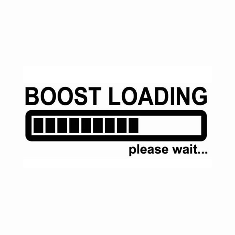 14CM*5CM Creative Boost Loading Please Wait For Turbo Funny Car Stickers C5 0681-in Car Stickers from Automobiles & Motorcycles