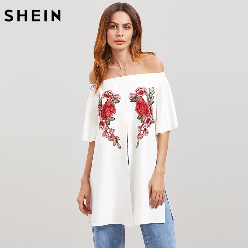 SHEIN White Flower Embroidery Applique Split Front Blouse,2017 Fashion Trend Women Smart-Casual Blouses,Off Shoulder Top Clothes