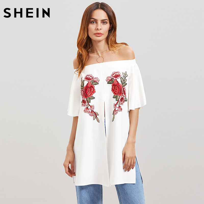 SHEIN White Flower Embroidery Applique Split Front Blouse,2017 Fashion Trend Women Smart-Casual Blouses,Off Shoulder Top Clothes