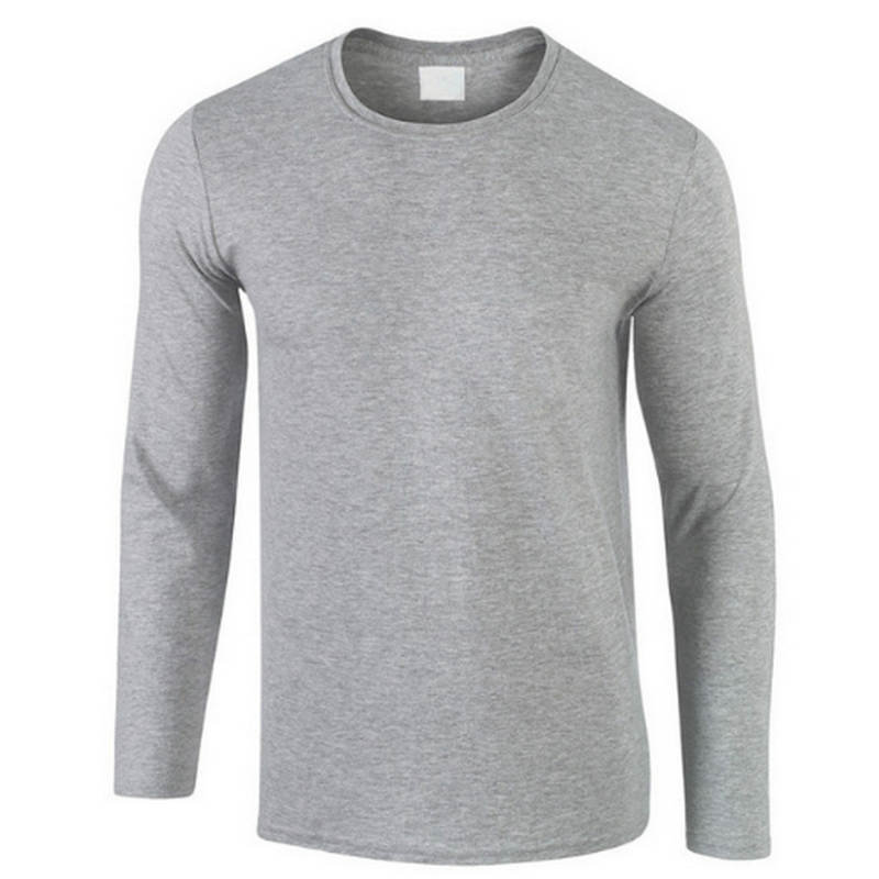 2019 Autumn New 100% Cotton T SHIRT Men, Ultra Low Price Long Sleeved Men's Tshirt High-Quality O-Neck Pure Color Lovers T-shirt