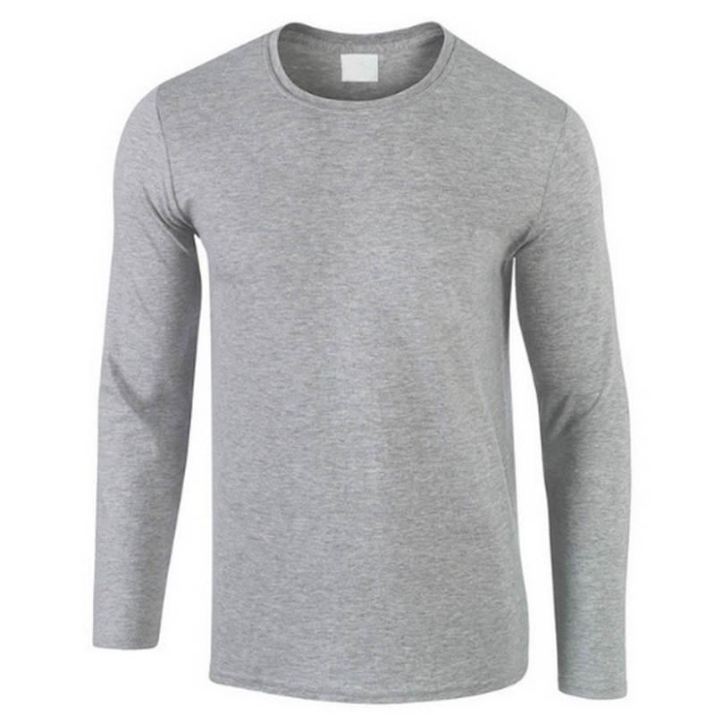 2019 automne nouveau 100% coton T-shirt hommes, Ultra bas prix à manches longues hommes T-shirt de haute qualité o-cou pur couleur amoureux T-shirt