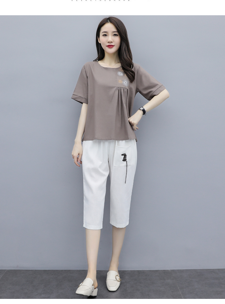 M-3xl Summer Cotton Linen Two Piece Sets Outfits Women Plus Size Embroidery Tops And Cropped Pants Suits Vintage Casual Sets 41
