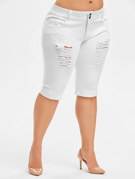 Wipalo Plus Size Ripped Knee Length Jeans Mid Waist Zipper Fly Women Denim Pants Solid Straight Summer Fashion Bottoms 5XL 2019