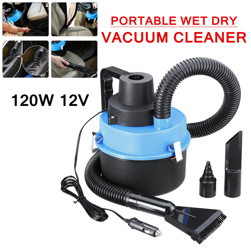 12V Wet Dry Canister Vacuum Cleaner 4L for Car Caravan Van Boat Inflater for Toy Powerful Suction Low Noise Compact Lightweight
