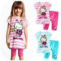 Baby Kids 2017 New Fashion Cartoon Cat lovely Clothing Set Girl Suit 2 Pcs T-Shirt+Pants Girls Summer Sets Clearance