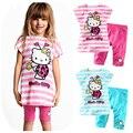 O bebê Caçoa a 2017 Nova Moda Dos Desenhos Animados Gato lindo Conjunto de Roupas Menina Terno 2 Pcs T-Shirt + Calças Meninas Conjuntos de verão de Apuramento