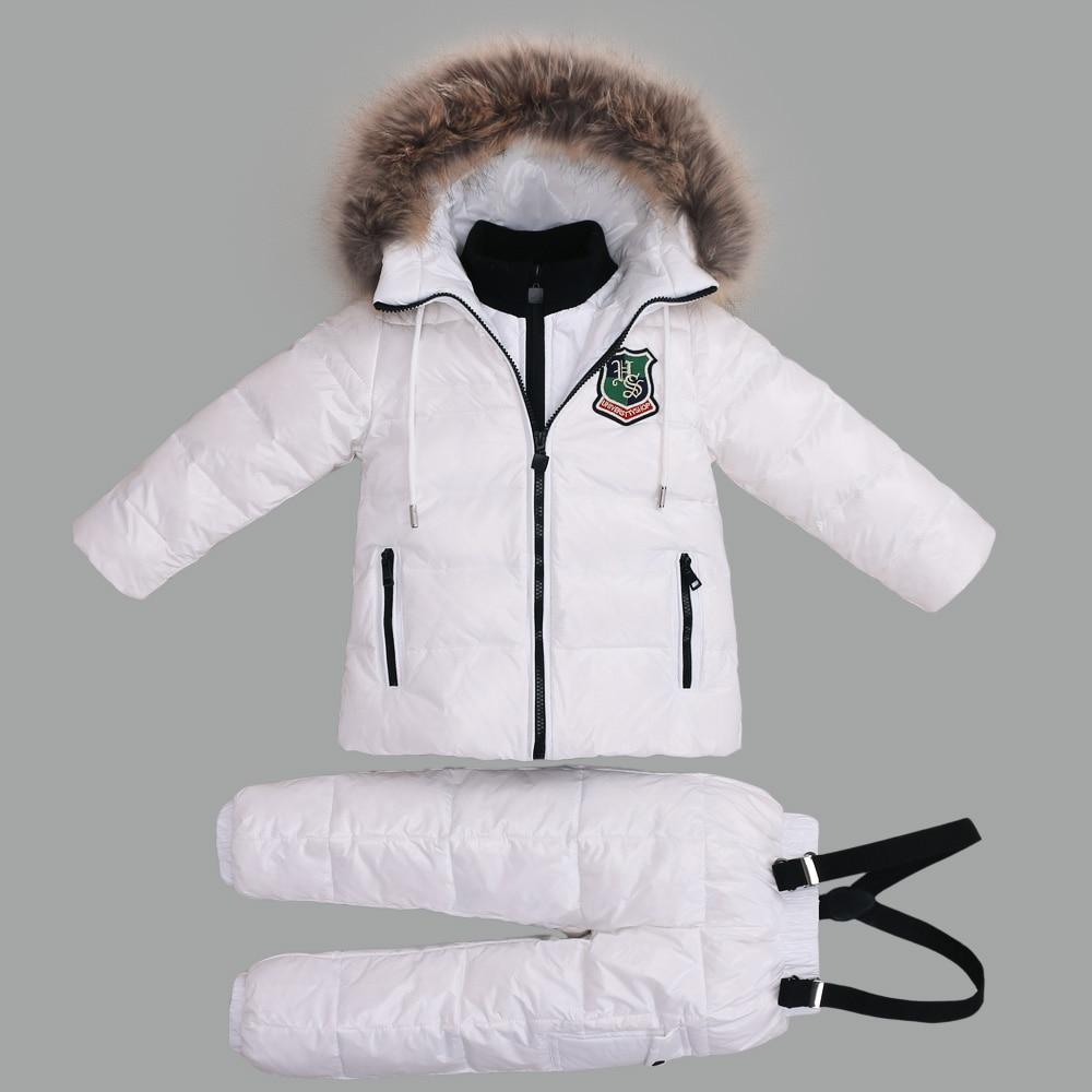 купить -30 Degree Winter Suits for Girls Boys Clothing Sets Children Snow Jackets + Jumpsuit Pants Kids Duck Down Coats Outerwear Suit недорого
