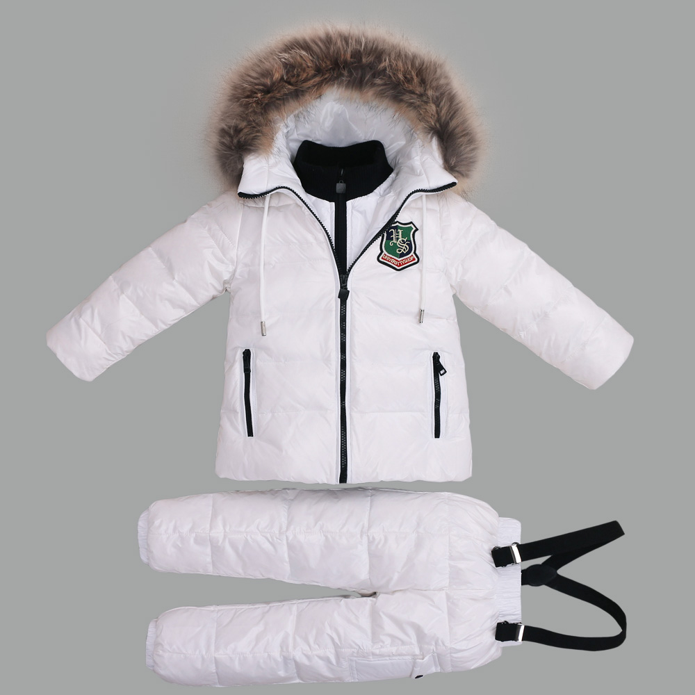 -30 Degree Winter Suits for Girls Boys Clothing Sets Children Snow Jackets + Jumpsuit Pants Kids Duck Down Coats Outerwear Suit