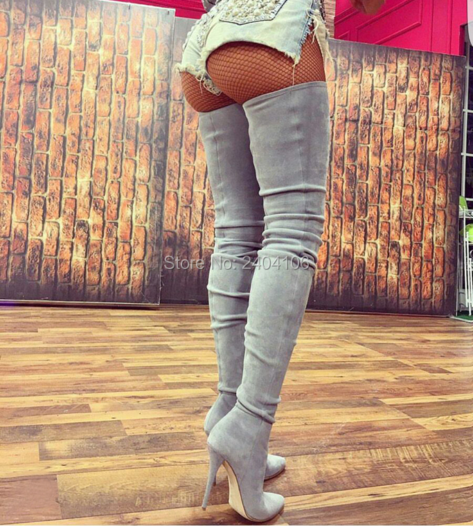 все цены на 2018 Fashion Faux Suede Black Grey Crotch Boots Winter Stretch Over The Knee Crepe Zip Booties Women Thigh High Stiletto Boots