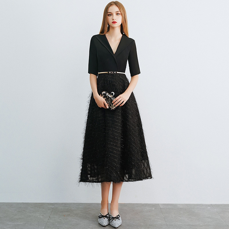 Weiyin noir manches courtes dentelle robes De soirée fête robes élégantes une ligne Vestidos De Festa Robe De soirée Longo WY1047