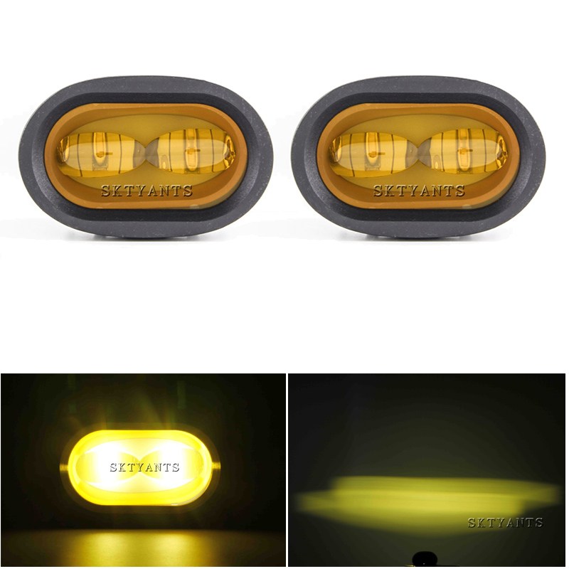 White/Yellow 20W LED Work Light 6D Universal Motorcycle Spot Lamp Driving Fog Light Off Road Auxiliary for Car Truck