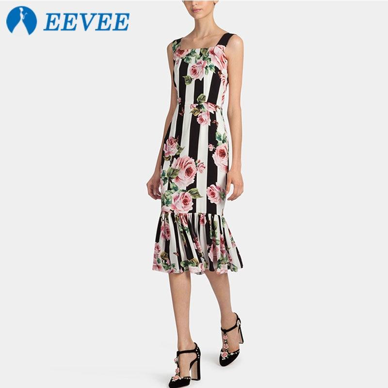 Rose D'été Picture Élégance De Tempérament Color Femmes Blanc Queue Poisson Sling Noir Robe Imprimer Nouveau Robe En ZTA5t5x