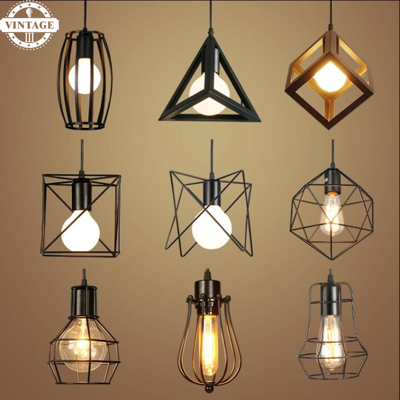 Modern Loft Vintage Industrial Retro Pendant Lamp Edison Light E27 Holder Iron Restaurant Attic Bookstore Cage Bar Counter Lamp