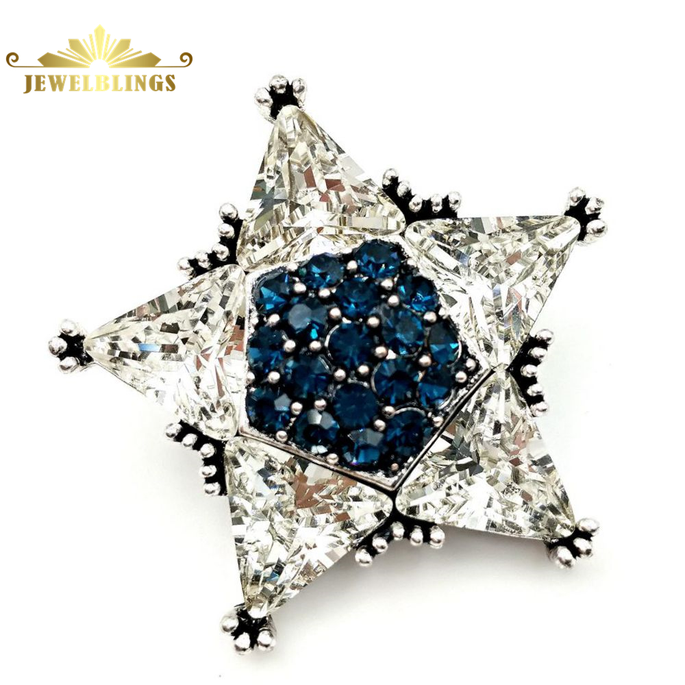 Gorgeous Vintage Clear and Blue Crystal Star Brooch Silver Tone Micro Pave Crystal Victorian Star Pins Broach Celestial Jewelry