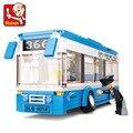 Sluban Городской Автобус Building Blocks Набор Модель 235 + шт Enlighten Образования DIY Строительного Кирпича Игрушки Для Детей