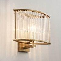 Северный постмодерн роскошный золотистый кристалл стеклянный светодиодный настенный светильник спальня коридор прикроватный настенный с