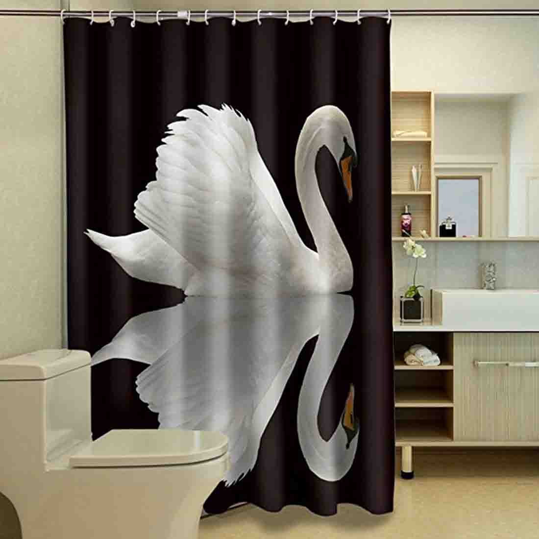 Swan Printed Bath Shower Curtains Bathroom Curtain Shower Cover For Bathroom Hanging Decoration Bathroom Products