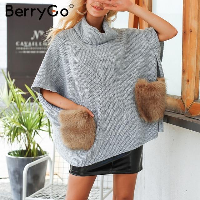 BerryGo Knitting turtleneck women sweater ponchos Casual oversize pull  femme jumper Faux fur pocket streetwear winter 97bf465eb