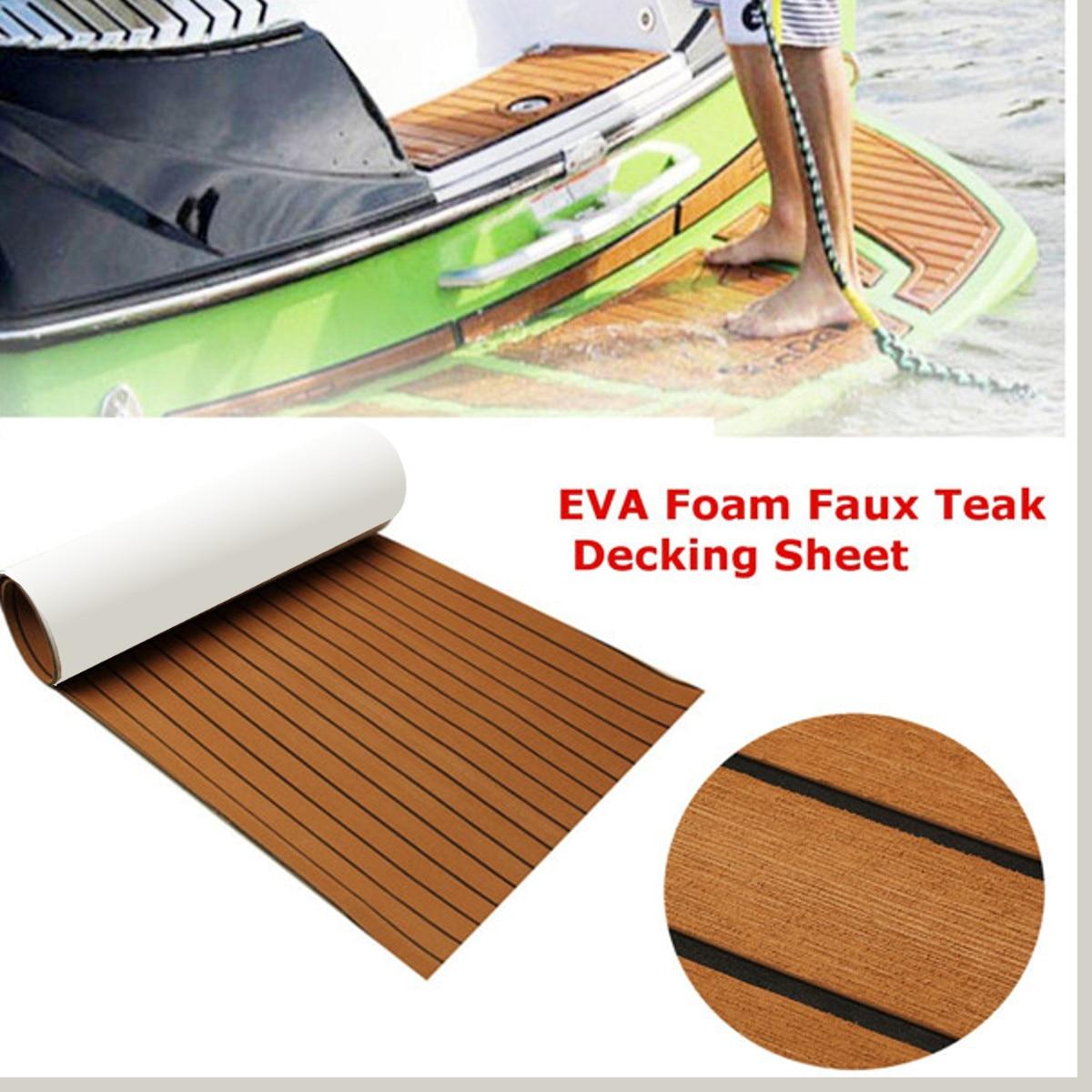 244x91.5 cm bateau marin EVA mousse teck feuille Yacht RV plancher 6mm d'épaisseur auto-adhésif synthétique platelage mousse tapis tapis marron
