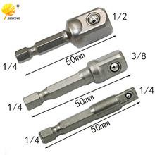Chrome Vanadium Steel Socket Adapter Hex Shank to 1 4 #8243 3 8 #8243 1 2 #8243 Extension Drill Bits Bar Hex Bit Set Power Tools cheap JIGONG Metalworking JHG0059