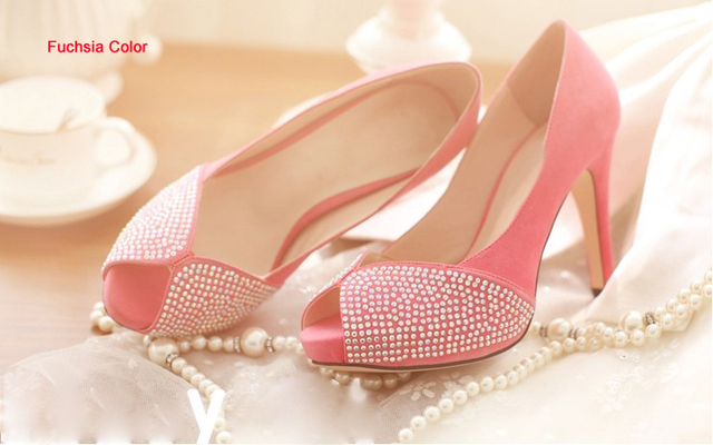 2018 New Style Fashion Peep Toe Spring High Heel Lady Shoes Wedding Dress Shoes  Bridal Dress Shoes Graduation Party Prom Shoes c6e233c2258f