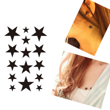 Bittb 3Pcs Five Pointed Star Waterproof Temporary Tattoo Body Arm Art Tattoo Stickers Fake Temporary Paster Beauty Tattoo Tool