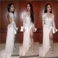 fashion beige prom dress with slit 2016 long sleeves o neck sequin beaded  women pageant gown formal evening party  hens night
