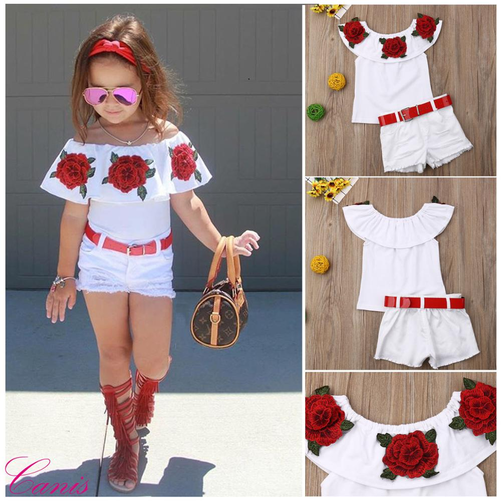 Summer Girls Clothes Sets Baby girls Sling T shirt And Shorts Suit Tracksuit For Kids Clothes Fashion Children Clothing Set in Clothing Sets from Mother Kids