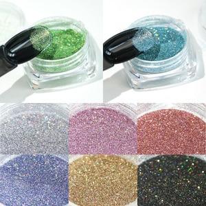 Image 5 - 1g/butelka holograficzny brokat Pigment do paznokci proszek błyszczący Laser zanurzenie Spangles Chrome lustrzany lakier do paznokci pył BE1028 1