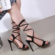 Liren 2019 Summer Fashion Lady Party Sandals Cross-tie Lace-up Sexy High Thin Heels Open Toe Sandals Women Fashion Party Shoes