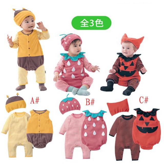 3 pçs/set Punpkim Morango dos desenhos animados Do Bebê rompers crianças Macacões de algodão de manga longa Com Capuz outono Bebê Escalada roupas E1389