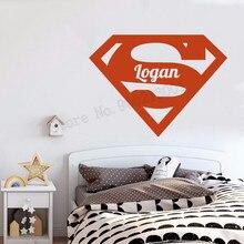 Kidsroom Custom Name Wall Sticker Superman Logo Home Decoration Babyroom Poster Mural Boys Teen Decals Decor Ornament LY1168