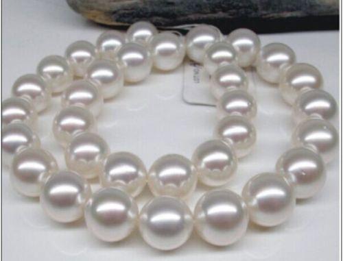 Livraison gratuite offre spéciale femmes bijoux de mariage de mariée>> énorme 11-12mm naturel mer du sud rond collier de perles blanches