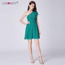 Коктейльные платья Ever Pretty, новинка, Модные Зеленые кружевные короткие вечерние платья трапециевидной формы на одно плечо выше колена, Vestidos EP03001PG