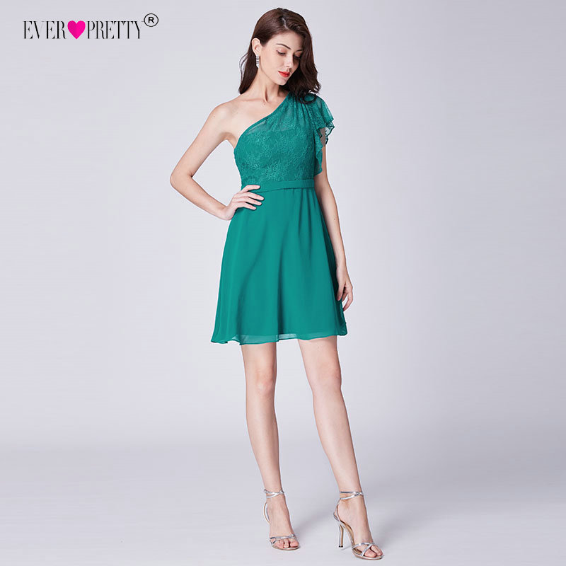 Ever Pretty   Cocktail     Dresses   2018 New Fashion Green A Line One Shoulder Lace Short Party Gowns Above Knee Vestidos EP03001PG