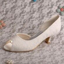 Wedopus MW491ผู้หญิงรองเท้าแต่งงานMarfilลูกไม้ต่ำส้นสำหรับผู้หญิงP Eep Toe