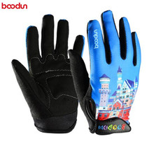 Boodun 4-10 Years Old Kids Full Finger Cycling Gloves Skate Sport MTB Riding BMX Mountain Bike Bicycle For Boys  Girls