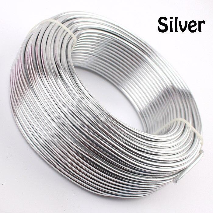 0,5 кг анодированная художественная алюминиевая проволока 2,5 мм 10 Калибр 39 м 43yd цветные украшения Мягкая металлическая проволока постоянные цвета - Цвет: Silver
