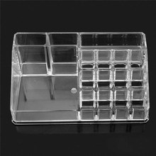 16 Cells Acrylic Clear Cosmetic Storage Box Holder Makeup Organizer Lipstick Holder Display Stand Toiletries Storage Boxes Case 8cm acrylic baseball box related display cube tennis transparent case for ball souvenir storage boxes holder uv protection