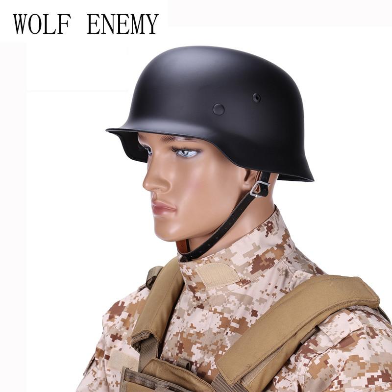 WW2 WWII German Elite M35 M1935 Steel Tactical Helmet Black Olive Drab